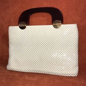 ❤️ VINTAGE HANDBAG BY MARLO ~OFF-WHITE MESH METAL